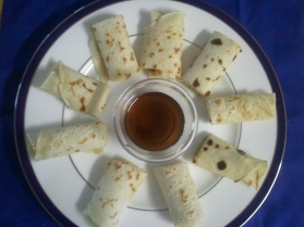 Jackson likes to roll them up and dip them in pancake syrup! ;)