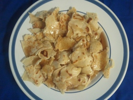 Bucca - All cut up and smothered in Pancake syrup ;) Yum!